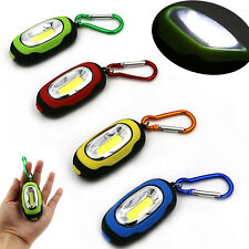 Portable COB Light LED FlashLight Key Ring Torch 3-Mode Keychain Lamp w/ Battery
