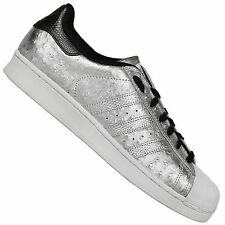 ADIDAS ORIGINALS SUPERSTAR TRAINERS II SHOES OSTRICHES LEATHER SILVER METALLIC