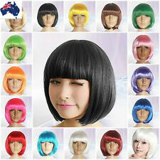 Womens Short Bobo Hair Wig Straight Cosplay Party Wigs Fancy Full Wigs 15 Colors