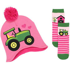 John Deere Toddler Girls Beanie Hat and Socks Set JDKIT142