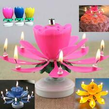 Musical Lotus Flower Rotating Happy Birthday Party Gift Decor Candle Light SP