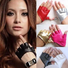 Fashion Women Half Finger PU Leather Gloves Ladys Fingerless Driving Show Gloves