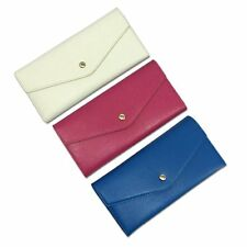 3-colors,Women's Leather Long Clutch Trifold Wallet Case Purse Shopping Envelope