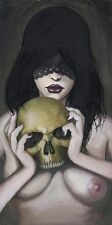 Unmasked by JR Linton Nude Gothic Woman w/ Skull Bedroom Canvas Fine Art Print