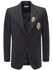 NWT DRIES VAN NOTEN SMART-CASUAL BLACK JACKET MILITARY 'BROSCH'