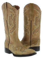 Womens Sand Gold Studded Stitched Leather Western Cowboy Boots Square Toe