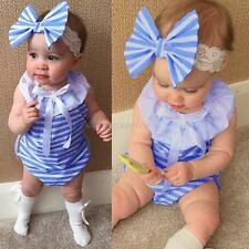 Newborn Baby Girls Bodysuit Summer Striped Romper Jumpsuit Outfits Clothes 0-24M