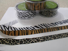 MAY ARTS Grosgrain Animal Print Ribbon - ZEBRA TIGER LEOPARD - 22 & 28mm