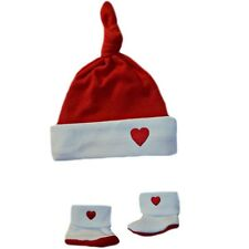 Red & White Heart Knotted Baby Hat Booties 6 Preemie Newborn Size Valentines Day