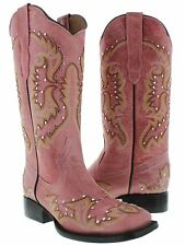 Womens Pink Studded and Stitched Leather Western Cowboy Boots Square Toe