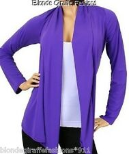Purple Long Sleeve Shrug/Cover-Up Drape Scarf Tunic Cardigan  #BB-P