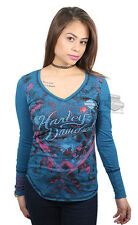 Harley-Davidson Ladies Studded Foil Print V-Neck Deep Teal Long Sleeve T-Shirt