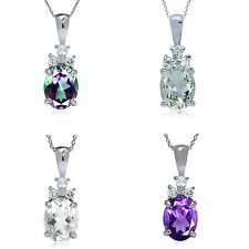 """Oval Shape 9*7MM Gemstone 925 Sterling Silver Pendant with 18"""" Chain Necklace"""
