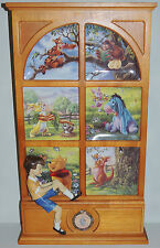 RARE Winnie Pooh 27x15 WONDERS OF THE WOOD 6 Plate Bradford DISPLAY Vntg Disney