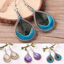Elegant Womens Silver Plated Feather Dangle Long Drop Hook Earrings Jewelry Gift