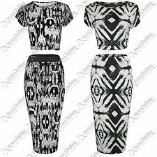 NEW WOMEN LADIES BODYCON AZTEC TIE DYE PRINTS PENCIL MIDI SKIRT CROP LOOK TOPS
