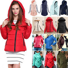 Womens Winter Warm Coat Slim Down Cotton Hooded Top Short Zipper Jacket Outwear