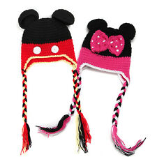 Baby Girl Boy Kid Crochet Knit Beanie Hat Minnie Mickey Handmade Cap Photo Prop