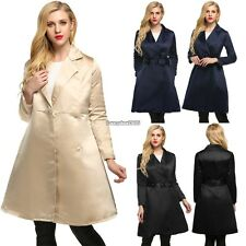 Women Elegant Notched Collar Solid Long Swing Trench Coat with Belt ED