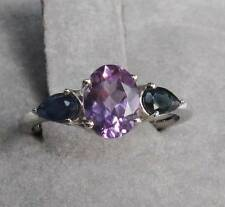 PURPLE AMETHYST & BLUE SAPPHIRE RING - 1.73 ctw - 925 STERLING SILVER Size 6