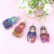 5Pcs New Two-Sided Colorful Enamel Russian Doll Charm Necklace Pendants Jewelry