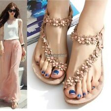 Women's Summer Casual Flats Bohemia Flower Floral Beach Sandals Strappy ED