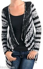 Black Stripe Lacey Print Lace Trim Drape Front Bolero/Shrug/Cardigan/Cover-Up
