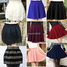 New Women Fashion Candy Color Waist Plain Rivet Pleated Bubble Mini Skirt ED