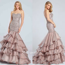 Shiny Rhinestone Sequins Evening Dresses Taffeta Mermaid Prom Formal Gown Custom