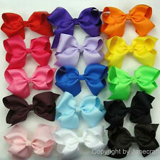 "100x 5.5"" Big Hair Bows Boutique Girls Baby Clip Grosgrain Ribbon U Pick Color"