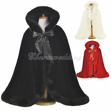 Faux Fur Bridal Cape Jacket Wrap Flower Girl Kid's Coat Cover Wedding Cloak NEW