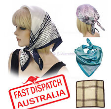 Soft Silky Silk Square Scarf Chemo Head Cover Wrap Stripes CHECK Polka Dot Print