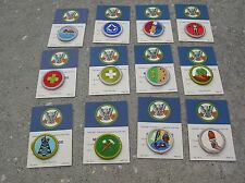 Vintage Boy Scout merit badges with blank cards