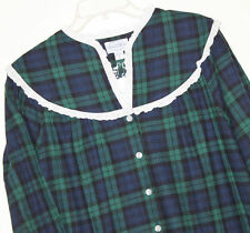 NEW* Lanz of Salzburg Size S M L Gown Nightgown Flannel Blue Green Plaid $64 RV