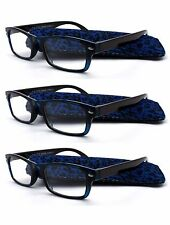 3PK Navy Blue Tortoise Frame Fashion Two Tone Reading Glasses with Pouch