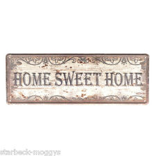 VINTAGE SHABBY CHIC METAL SIGN OR PLAQUE HOME SWEET HOME EMBOSSED WALL OR DOOR