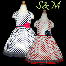 USBD71-2 Red/Navy Polka Dot Christmas Flower Girls Dress SZ 1, 2,3,4,5,6,7,8-10