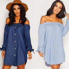 Women Off The Shoulder Casual Long Sleeve Party Cocktail Short Mini Shirt Dress