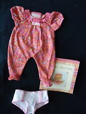 American Girl Bitty Baby PINK PAISLEY SLEEPER, BOOK, DIAPER new in package