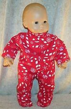 "Doll Clothes fit American Girl Bitty Baby 16""inch Pajamas Footed Candy Canes Red"