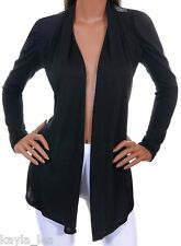 Black Open Weave Back Shrug/Cover-Up Drape Scarf Tunic Cardigan