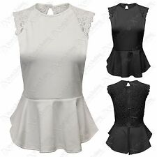 NEW LADIES PEPLUM FRILL LACE BUTTON OPEN BACK TOP WOMENS BODYCON LOOK VEST TOPS