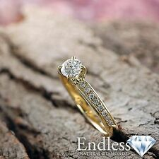 Women Diamond Engagement Ring 14k Solid Gold 1.03 CT VS/F-G Size 5 Enhanced
