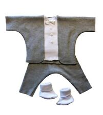 Gallant Gray Baby Boy Tuxedo 4 Piece Suit - 5 Preemie and Newborn Sizes