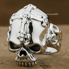 925 Sterling Silver Skull Corss CZ Stone Mens Ring 9G013A Mens Jewellery US 8~13
