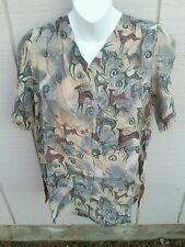 NWT ADINI 14/16 Tan & Gray Antelope Pattern Button Down Short Sleeve Tunic Shirt