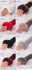 "Faux Fur Trim Fingerless Acrylic Sweater Knit Gloves/Hand Warmers 7"" *8 Colors"