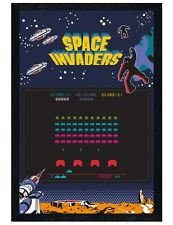 Black Wooden Framed Space Invaders Screen Maxi Poster 61x91.5cm