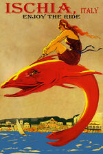 ENJOY THE RIDE ISCHIA ITALY BEACH GIRL RIDING FISH TRAVEL VINTAGE POSTER REPRO
