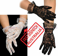 Costume Fancy Dress Wedding Party Goth 20's 80's Lace Stretch Gloves Full Finger
